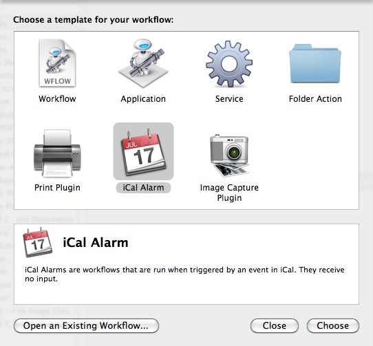 Automatic Backup - Select iCal template