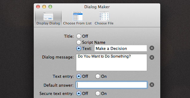AppleScript: Creating Complex Dialogs with Ease