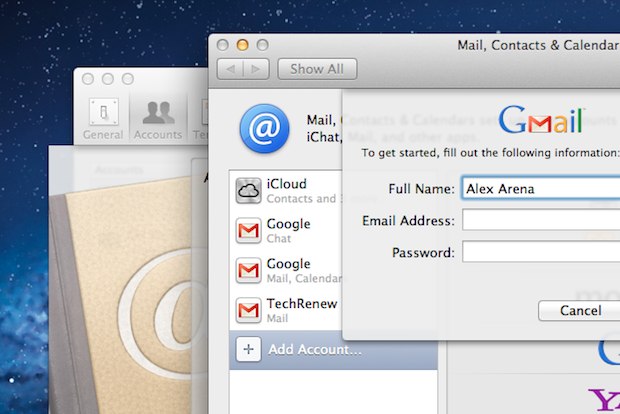 Adding a Google Account in Mac OS X Lion
