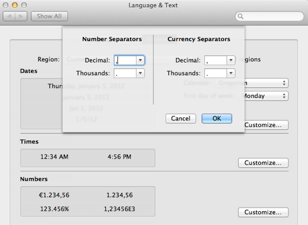 Adjust the number and currency separators