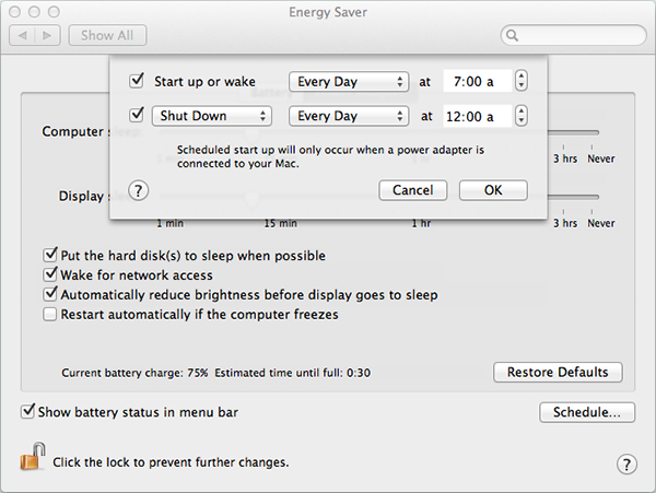 how to set scheduled startup on mac