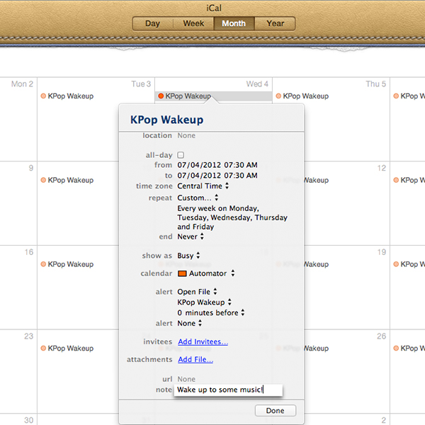 Scheduling an Automator iCal alarm workflow