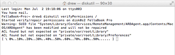 Permission verification and repair in Terminal.
