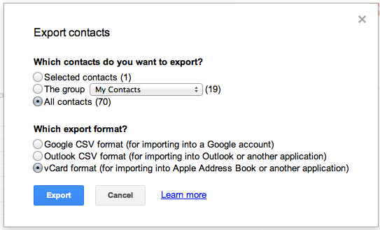 Exporting an Address Book ready file in Gmail