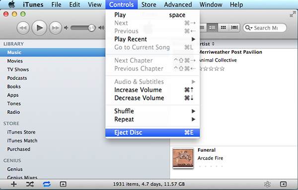 Using the Eject command in iTunes or another application may work when Finder fails