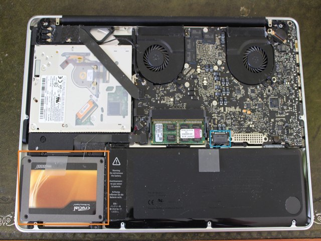 The insides of a MacBook Pro