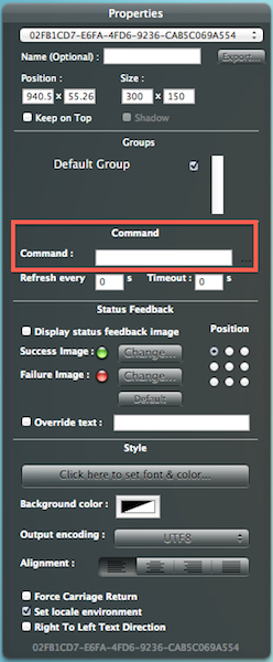 Lookout for the Command field. This is where you tell your geeklet what to do.