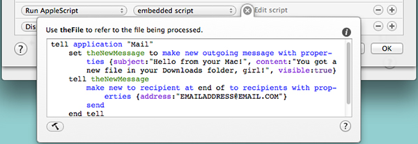 Your embedded AppleScript will look something like this.