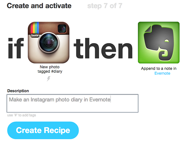 This is a sample of your IFTTT recipe; a tagged Instagram photo becomes a note in Evernote.