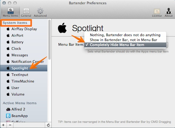 Hide an OS X system icon or move it to the Bartender bar