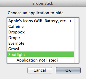 Hide icons with Broomstick but only for certain applications