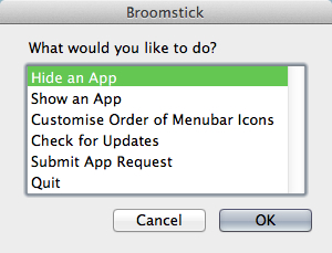 Broomsticks menu lays out all of its options