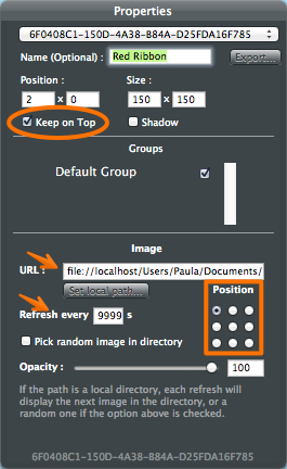 Set the local path for your image in your GeekTool geeklet