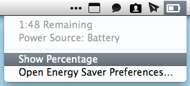 Deselect Show Percentage to get rid of the percentage full next to your battery.