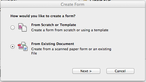 Make sure to create your form From Existing Document.