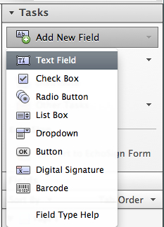 Choose the form field for your document.