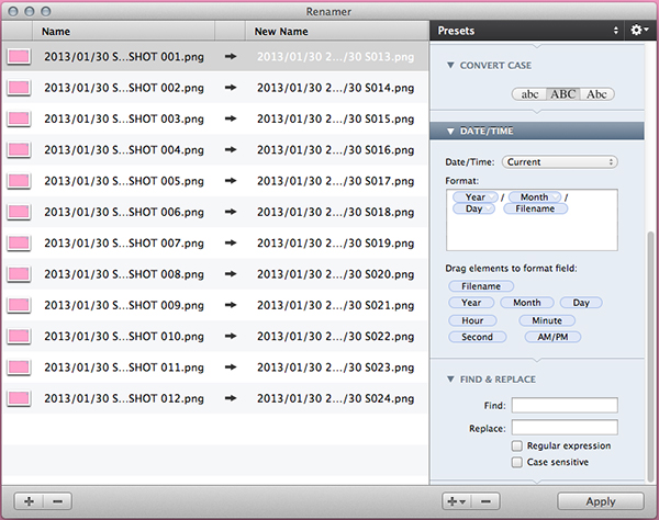 Edit the date and time associated with your files's names or create a sequence, as before.