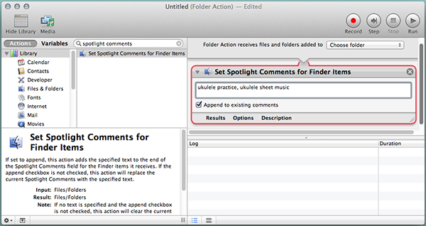 Automator folder actions can add Spotlight Comments for you.