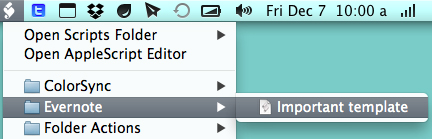 Your script will be under Evernote in the Script menu in the menu bar.