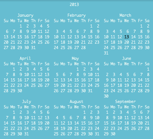 Adjust the size of your geeklet as necessary to fit your year calendar.