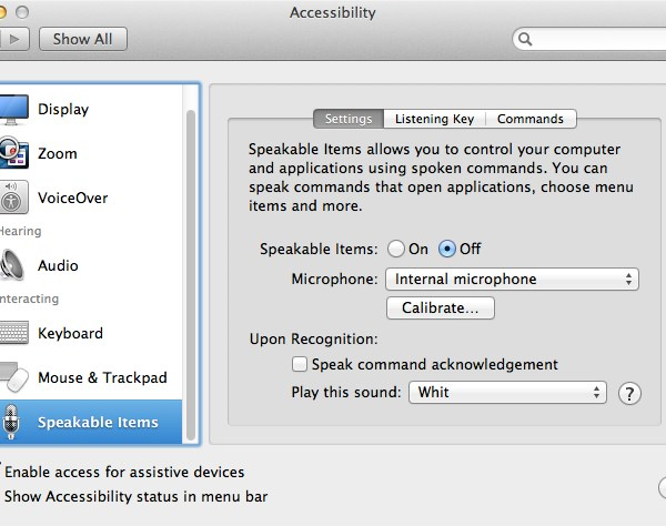 Speakable Items provides advanced voice recognition and speakable navigation on your Mac that's built right into OS X
