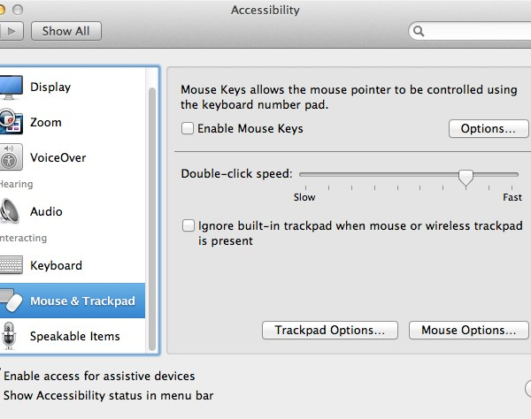 Apple's Trackpads are very customisable and easy to use with Accessibility options