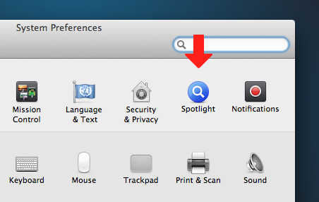We'll start by opening the Spotlight preferences pane.