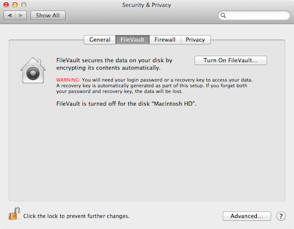 FileVault encrypts your files, making it much harder to regain access after it's lost.