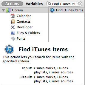 Search for your Automator action