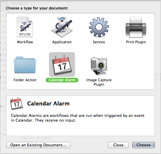 Create a new Calendar Event workflow