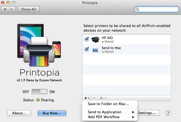 You can specify custom folders to send PDF copies of iOS documents that were otherwise destined to be printed