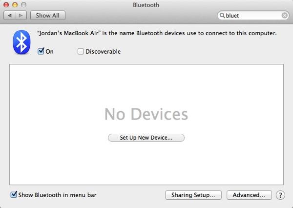 Bluetooth Preferences are very straightforward
