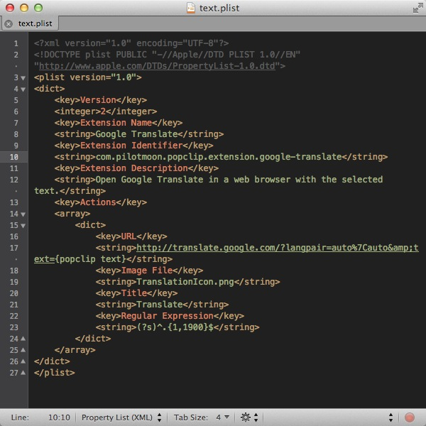 Here is what the code looks like when it's opened/pasted into a text editor (in this case, TextMate)
