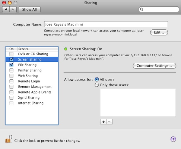Enabling screen sharing and file sharing