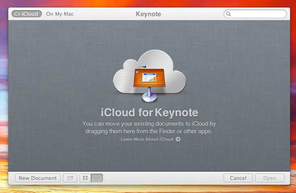 The splash screen of Keynote.