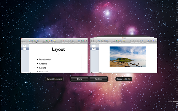 The Versions view within Keynote.