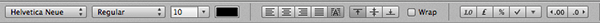 The formatting toolbar within Numbers.
