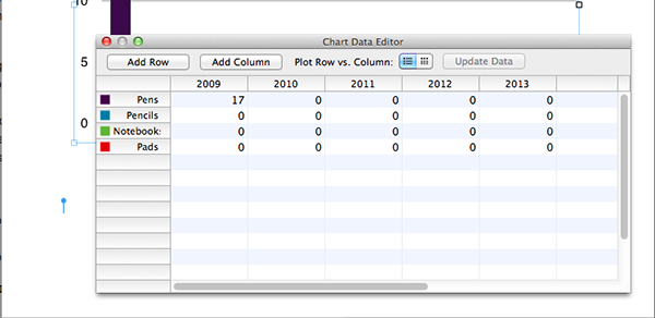 The data editor within Pages.