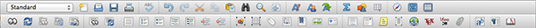 The two toolbars within LyX.