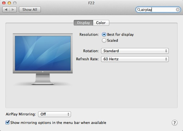 AirPlay Mirroring can also be managed via System Preferences
