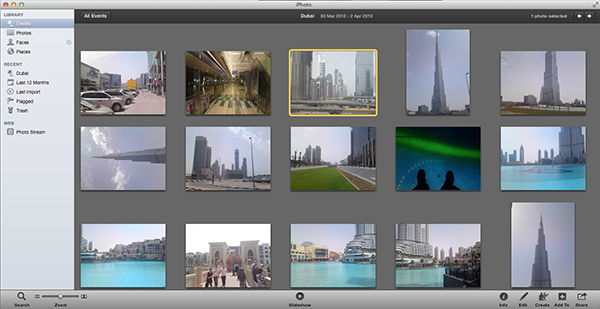 iPhoto is not only fantastic for editing your images but it can also help you export them to a variety of places and create some pretty cool looking slideshows.