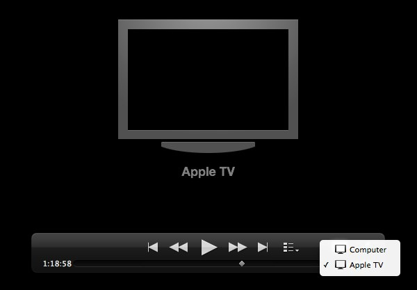 You can toggle AirPlay from the playback toolbar