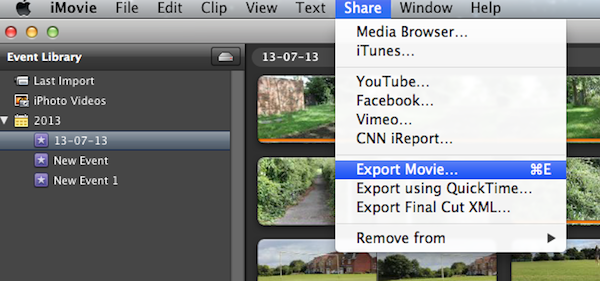 Going up to Share then Export Movie brings up the interface to export.
