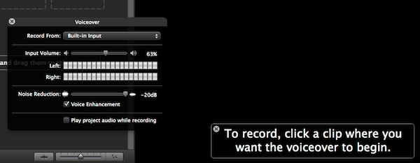 This is the handy interface which appears when recording a voiceover
