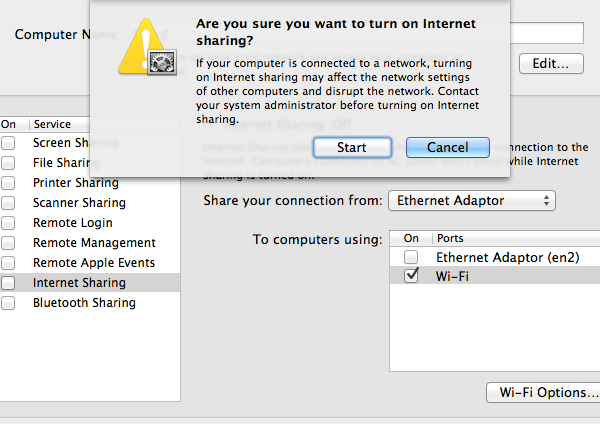 Once you enable Internet Sharing, you'll be prompted if you wish to continue.