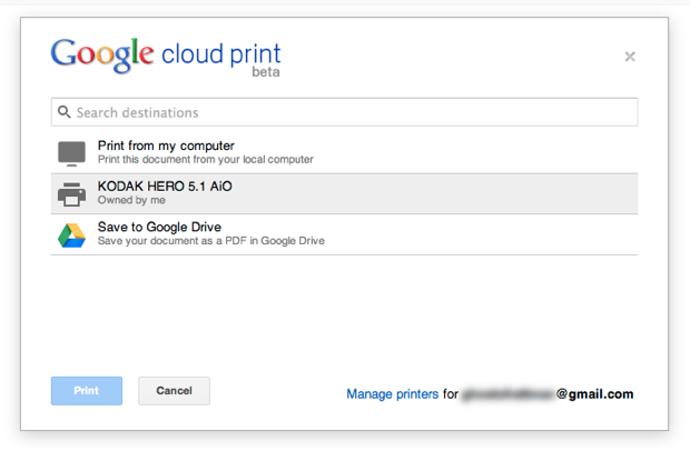 Printing from Google Drive