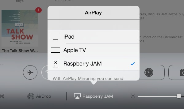 As you can see, my iPad is now able to stream audio to our Raspberry Pi.