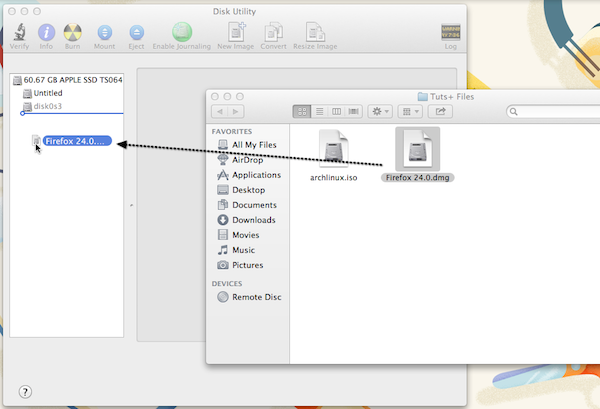 To mount a DMG disk image in OS X, simply drag-and-drop it to the left sidebar of Disk Utility.