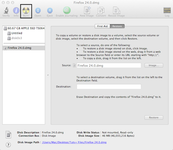 How to Burn a CD or DVD from a Disk Image in OS X