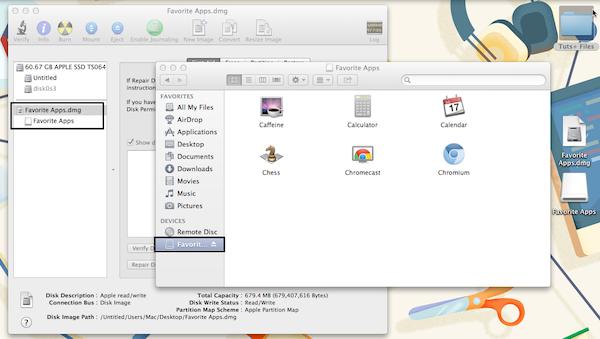 DMG files can be used to store files or applications, as shown above.